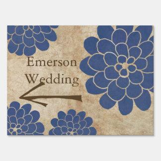 Vintage Blue Dahlia Floral Wedding Yard Sign