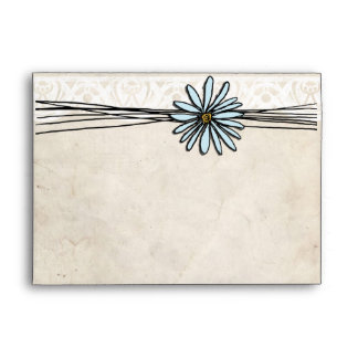 Vintage Blue Daisy Envelope