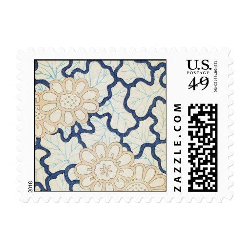 Vintage Blue Daisy Postage Stamp