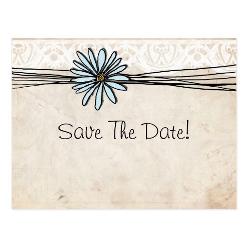 Vintage Blue Daisy Save The Date Post Card