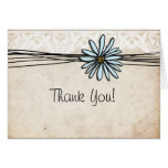Vintage Blue Daisy Thank You Cards