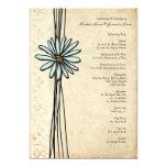 Vintage Blue Daisy Wedding Program Invite