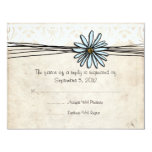 Vintage Blue Daisy Wedding RSVP Custom Invite