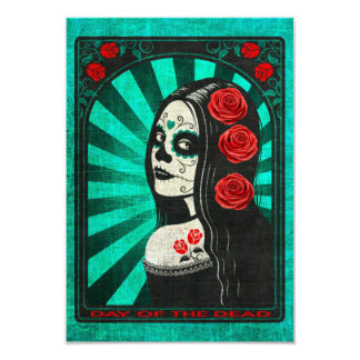 Vintage Blue Day of the Dead Girl Personalized Announcements