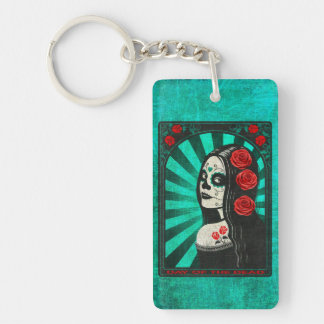Vintage Blue Day of the Dead Girl Rectangular Acrylic Key Chains