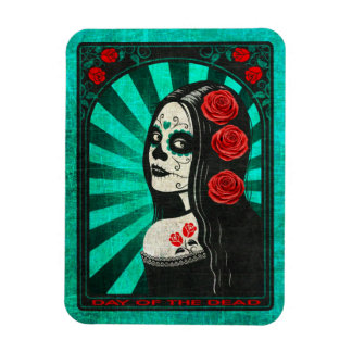 Vintage Blue Day of the Dead Girl Magnet