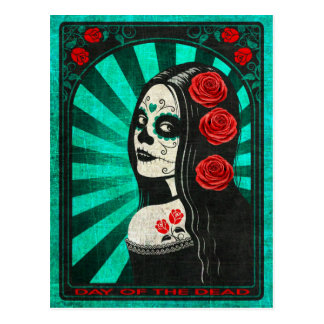 Vintage Blue Day of the Dead Girl Postcard