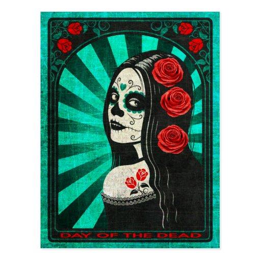 Vintage Blue Day of the Dead Girl Postcards