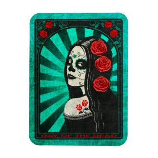 Vintage Blue Day of the Dead Girl Rectangular Magnet