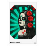 Vintage Blue Day of the Dead Girl Room Decal