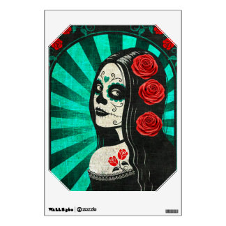 Vintage Blue Day of the Dead Girl Wall Graphics