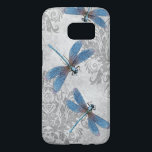"Vintage Blue Dragonflies on Grunge Damask Pattern Samsung Galaxy S7 Case<br><div class=""desc"">A vintage design featuring blue dragonflies over a gray grunge damask pattern.</div>"
