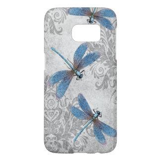 Vintage Blue Dragonflies on Grunge Damask Pattern Samsung Galaxy S7 Case