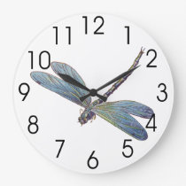 Vintage Blue Dragonfly Large Clock