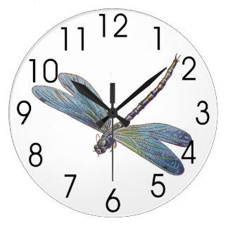 Vintage Blue Dragonfly Large Clock
