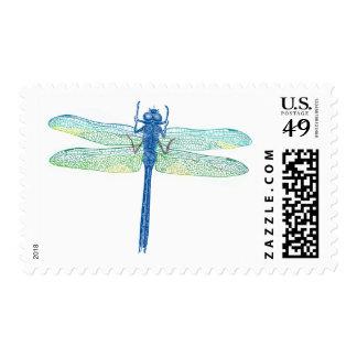 Vintage Blue Dragonfly Postage