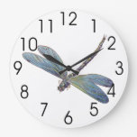 Vintage Blue Dragonfly Wall Clock
