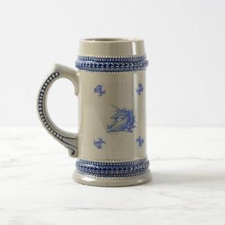 Vintage Blue Dutch Unicorn Head Stein