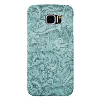 Vintage Blue Egyption Scroll Texture Samsung Galaxy S6 Case