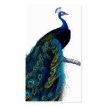 Vintage Blue Elegant Colorful Peacock Business Cards