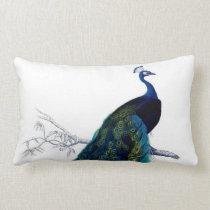 Vintage Blue Elegant Colorful Peacock Lumbar Pillow