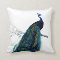 Vintage Blue Elegant Colorful Peacock Throw Pillow