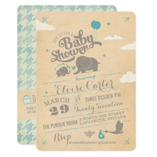 Vintage Blue Elephant Baby Shower Invitations