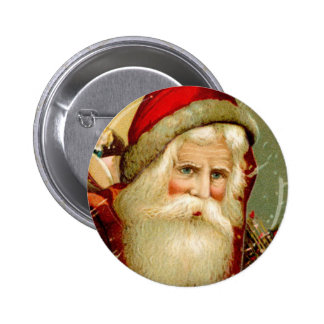 Vintage Blue Eyed Santa Christmas Button