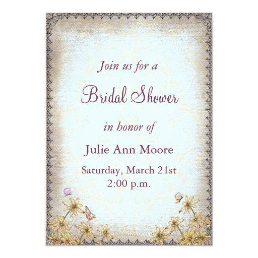 Vintage Blue Floral Bridal Shower 5x7 Paper Invitation Card