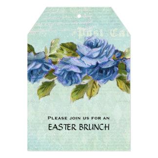 Vintage Blue Floral Easter Brunch 5x7 Paper Invitation Card