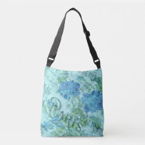 Vintage Blue Floral French Paris Postmark Pattern Crossbody Bag