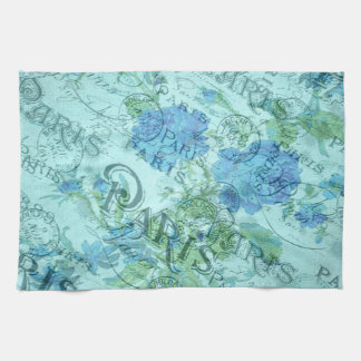 Vintage Blue Floral French Paris Postmark Pattern Hand Towel