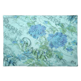 Vintage Blue Floral French Paris Postmark Pattern Placemat