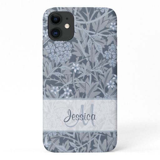 Vintage Blue Floral Jasmine by William Morris iPhone 11 Case