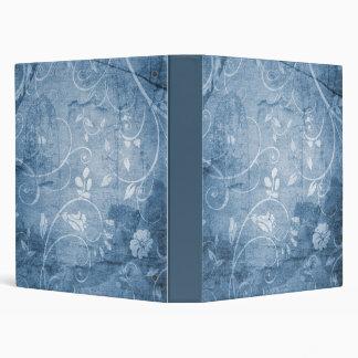 Vintage Blue Floral Pattern Vinyl Binder