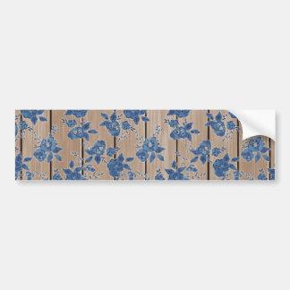 Vintage Blue Floral Pattern Car Bumper Sticker