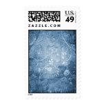 Vintage Blue Floral Pattern Postage Stamp