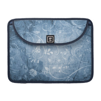 Vintage Blue Floral Pattern Sleeve For MacBook Pro