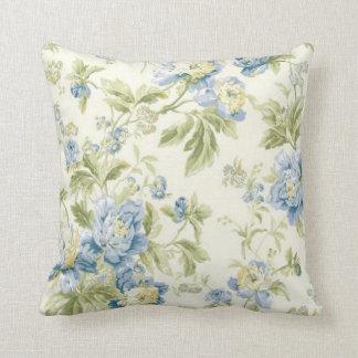 Vintage Blue Floral Wallpaper Pillow