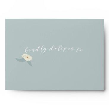 Vintage Blue Floral Wedding Envelope
