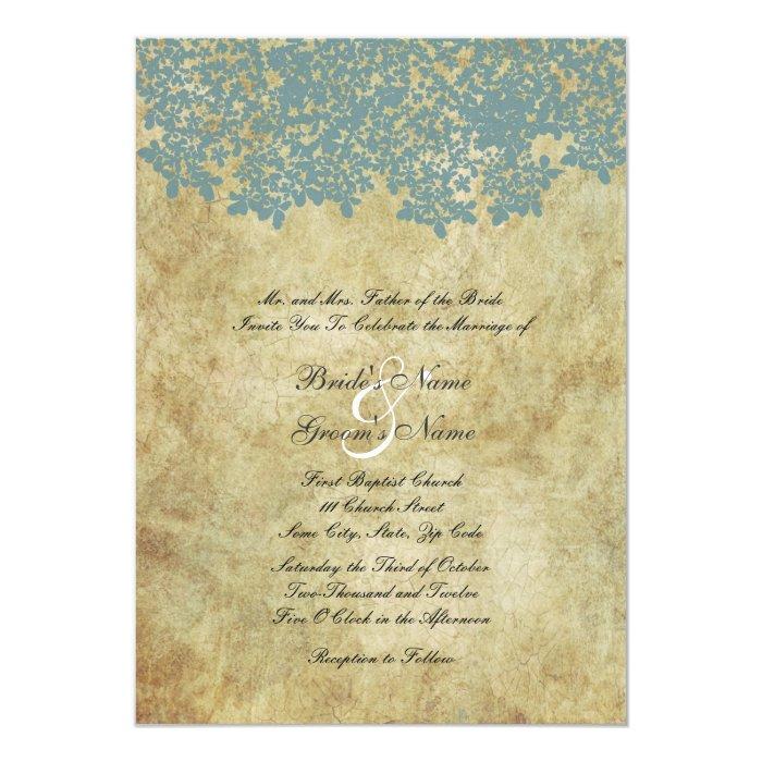 Vintage Blue Floral Wedding Invitations