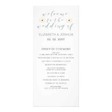Vintage Blue Floral Wedding programs
