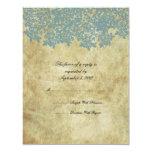 Vintage Blue Floral Wedding RSVP Invitation