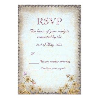 Vintage Blue Floral Wedding RSVP Custom Announcements
