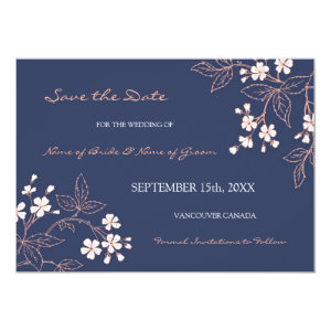 Vintage Blue Floral Wedding Save the Date 5x7 Paper Invitation Card