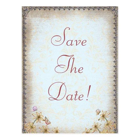 Vintage Blue Floral Wedding  Save The Date Postcard