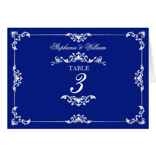 Vintage blue floral wedding table number cards zazzle for Table 52 cards