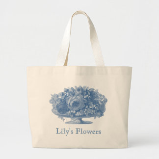 Vintage Blue Flower Arrangement Large Tote Bag
