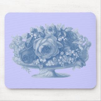 Vintage Blue Flower Arrangement Mouse Pad