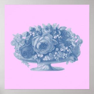 Vintage Blue Flower Arrangement Poster